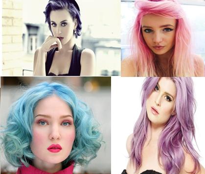 Collage de chicas con cabello color pastel