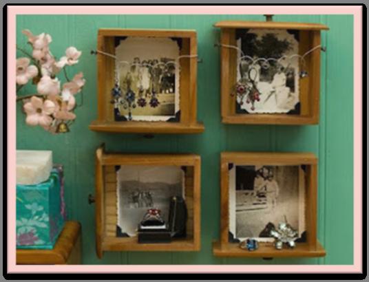 Portarretratos con cajones reciclados