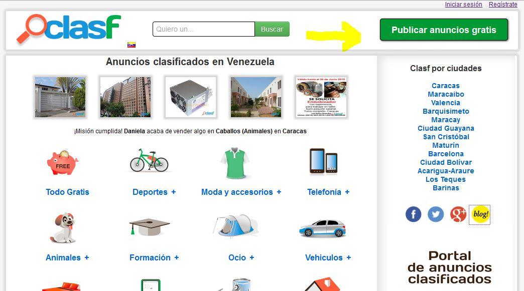 Publicar anuncio en Clasf Venezuela